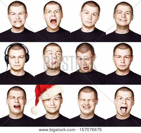 Man. Set of Different Facial Expressions or Emotions. Short Hair Brunette Guy collection of Face Like Happy Sad Angry Surprise Funny