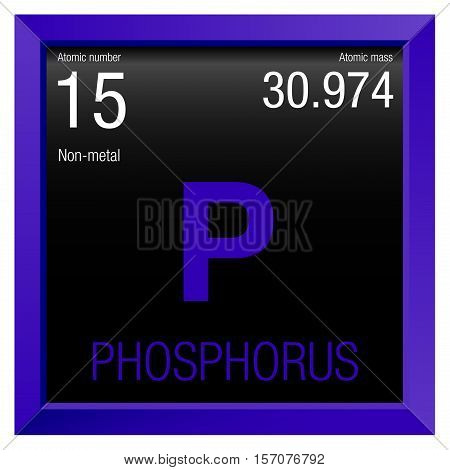 Phosphorus symbol. Element number 15 of the Periodic Table of the Elements - Chemistry - Violet frame with black background