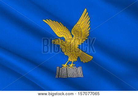 poster of Flag of Friuli-Venezia Giulia is one of the 20 regions of Italy. 3d illustration