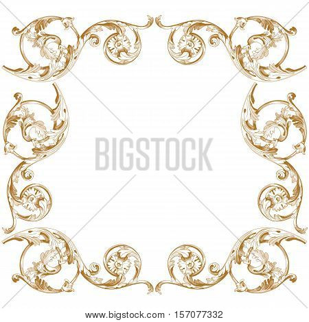Premium frame, golden frame, vintage frame, baroque frame, scroll frame, ornament frame, vine frame, deco frame, royal frame. Vector illustration.
