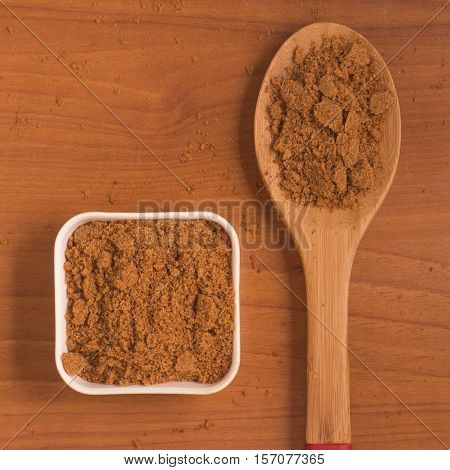 Coconut Sugar. Low glycemic index. over a wooden table
