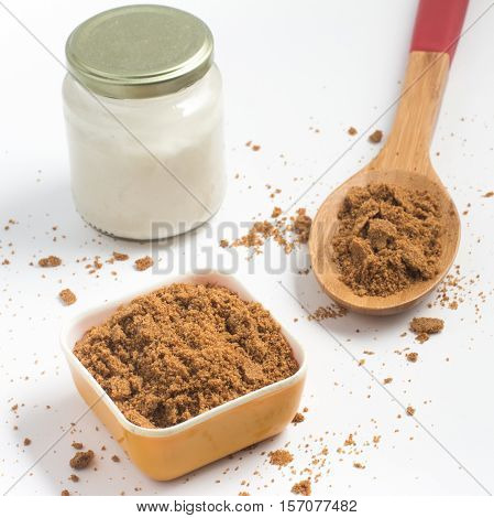 Coconut Sugar. Low glycemic index. over a white background