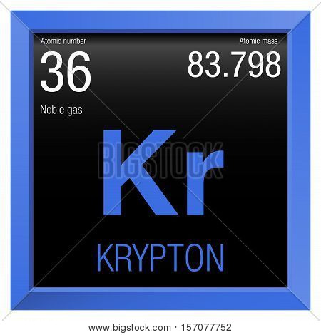 Krypton symbol. Element number 36 of the Periodic Table of the Elements - Chemistry - Blue frame with black background