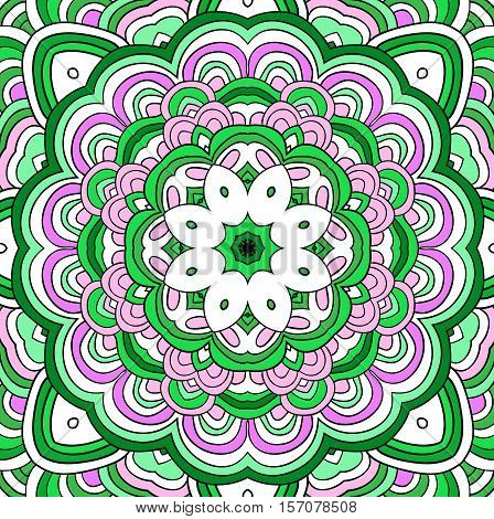 Green vector background. Abstract carbage image. Mandala.