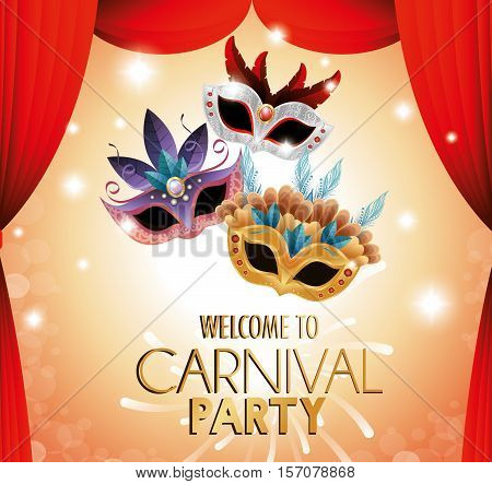 welcome carnival party theater masks colored vector illustration eps 10
