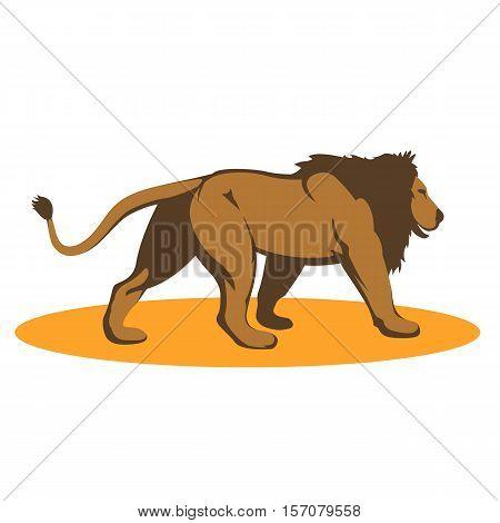 lion vector illustration style Flat profile side