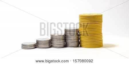 coins arranged in order to high income