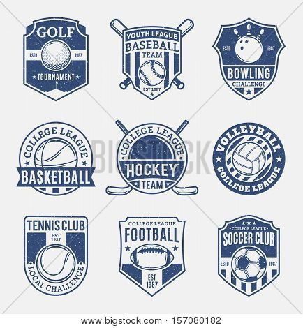Set Of Retro Styled Sport Team Logo For Nine Sport Disciplines