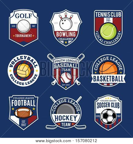 Set Of Sport Team Logo For Nine Sport Disciplines