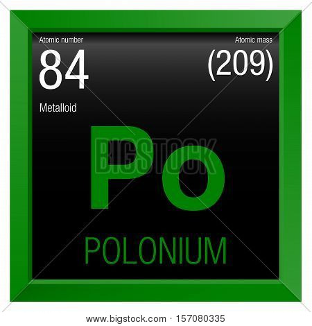 Polonium symbol. Element number 84 of the Periodic Table of the Elements - Chemistry - Green frame with black background