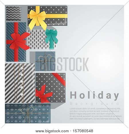 Set of gift boxes background on top view , vector , illustration