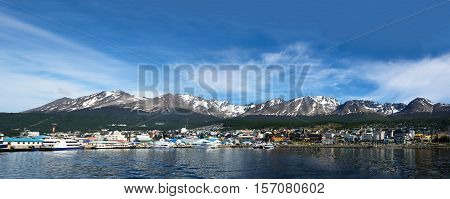 Ushuaia viewed from the Beagle channel (Argentina)