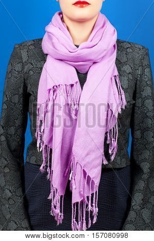 Silk Scarf. Lilac Silk Scarf Around Her Neck Isolated On Blue Background.