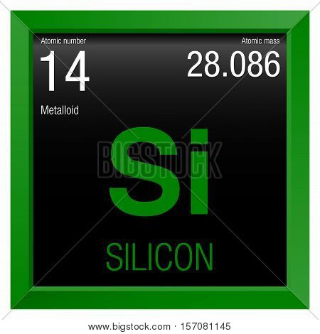 Silicon Symbol. Element number 14 of the Periodic Table of the Elements - Chemistry - Green frame with black background