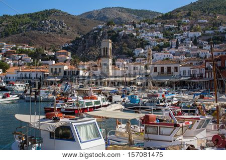 Marina and the pier on the Hydra island, Greece.