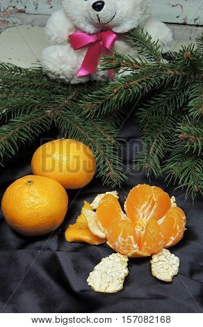 Christmas Background,  Tree And Tangerines