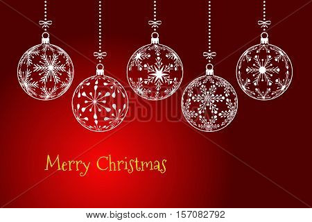 christmas background holiday greeting card with text Merry Christmas on dark red background christmas balls created from snowflakes pattern