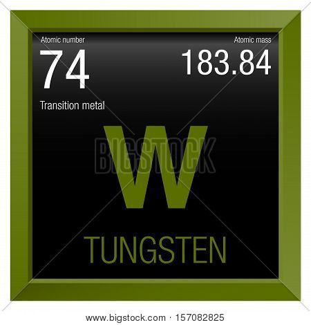 Tungsten symbol. Element number 74 of the Periodic Table of the Elements - Chemistry - Green frame with black background