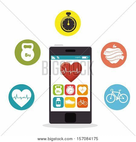smartphone heart rate app fitness health vector illustration eps 10