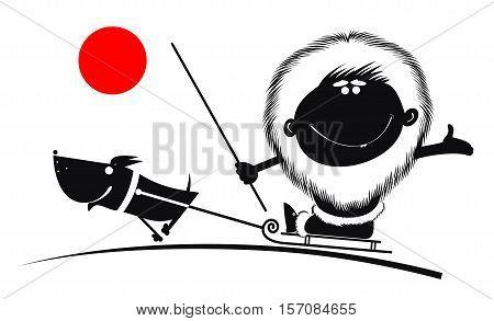 North man rides on the sled dog