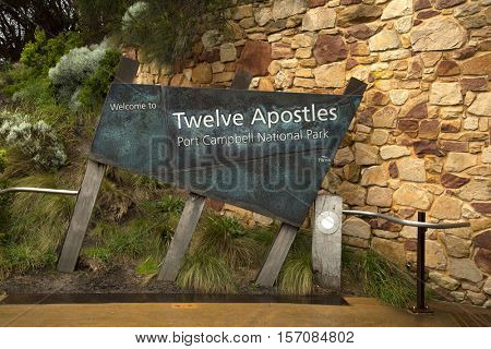 PORT CAMPBELL, AUSTRALIA - OCTOBER 25, 2016:  Entrance information sign at Twelve Apostles. and is a collection of limestone stacks off the shore at the Great Ocean Road in Victoria, Australia.