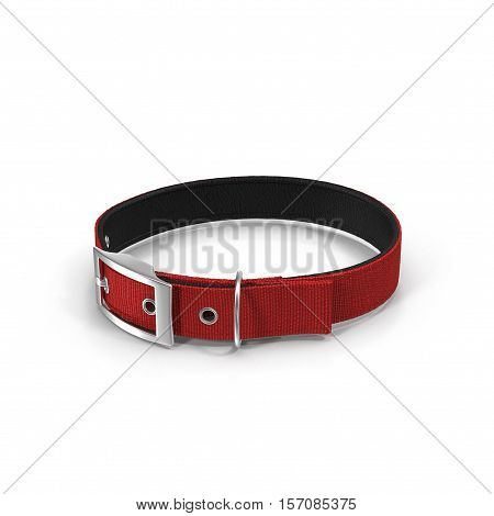 New red dog collar isolated on the white background. 3D illustration