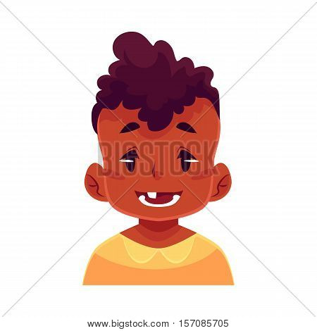 Little boy face expression, smiling facial expression, cartoon vector illustrations isolated on white background. blackd male kid emoji face smile, white teeth. Happy, glad, smiling face expression
