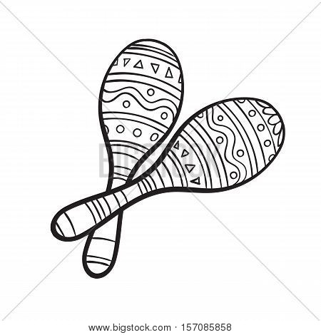 Pair of traditional Mexican brightly maracas or rumba shakers, black and white sketch style vector illustration isolated on white background. Couple of hand drawn Mexican maracas