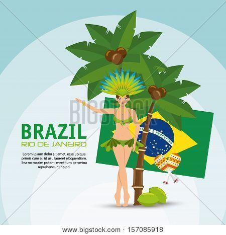 brazil rio de janeiro poster garota flag coconut palm vector illustration eps 10