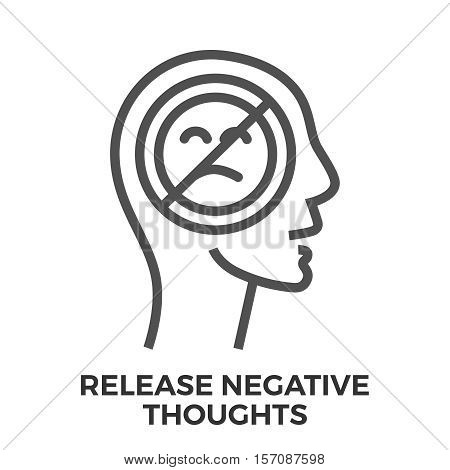 Release Negative Thoughts Thin Line Vector Icon Isolated on the White Background.