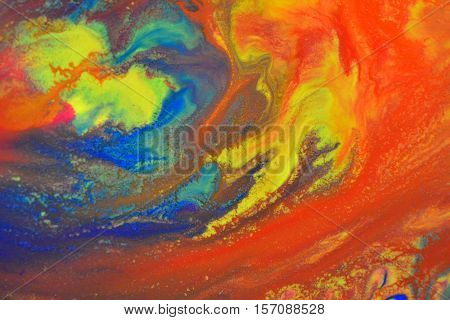 Red, green, blue, yellow fluid chaotic mix of colors macro. Abstract color creative art background basis closeup. poster
