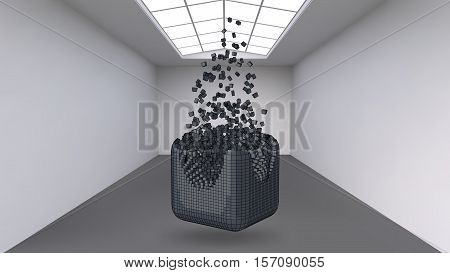 Hanging the cube from a multitude of small polygons in the large empty room. Exhibition space with abstract cubic shapes. The cube at the moment of explosion is divided into fine particles