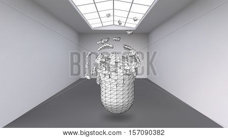 Hanging capsule of many small polygons in large empty room. The exhibition space is an abstract object, spherical shape. Capsule at the moment of explosion is divided into fine particles