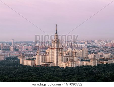 Moscow State University - one of Stalin skyscrapers at summer morning in Moscow