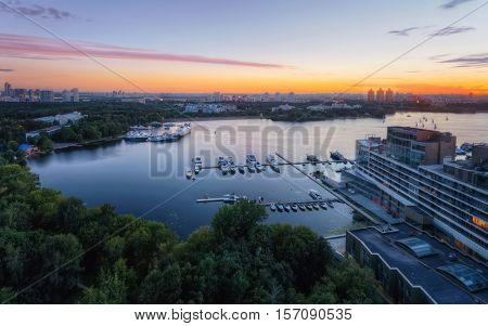 Voykovsky District, apartment complex Yacht town at evening in Moscow, Russia