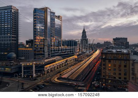 Smolenskaya Square highway and moving cars in evening Moscow, Russia, long exposure