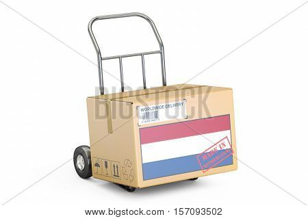 Made in Netherlands concept. Cardboard Box on Hand Truck 3D rendering isolated on white background