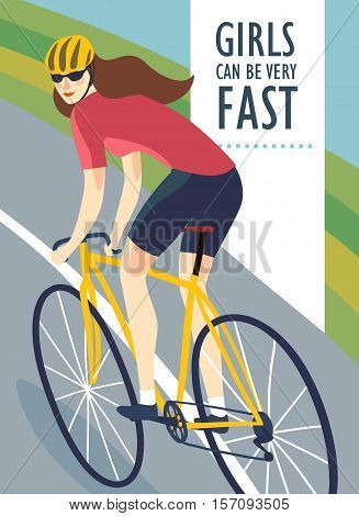 Racing road cyclist woman in action on landscape background. Colorful poster for competition and championship or other cycling event. Editable vector illustration