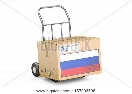 Made in Russia concept. Cardboard Box on Hand Truck 3D rendering isolated on white background