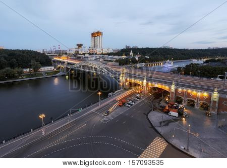 Russian Academy of Sciences and Andreevsky bridge at evening, Moscow, Russia