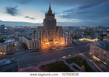 Ministry of Foreign Affairs building (Stalin skyscraper) at early morning in Moscow, Russia