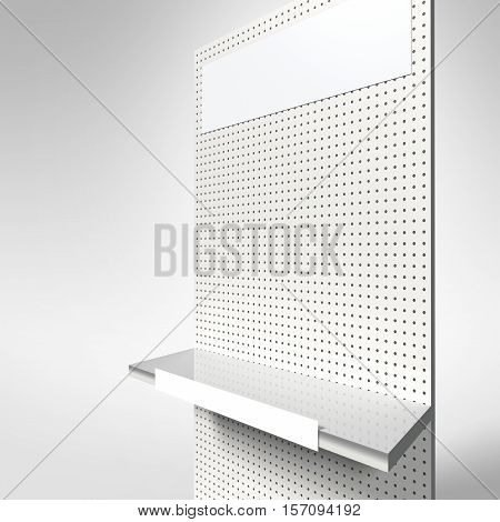 3d product display featuring space for signage and empty shelves for products.