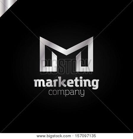 Letter M Logo Or Mm Initials Two Modern Monogram Symbol, Mockup Black And White Business Card Emblem