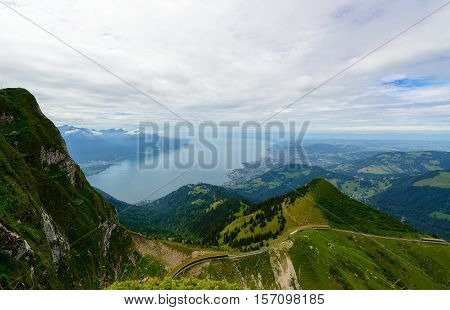 Lake Geneva and Montreux city from the view platform on Rochers-de-Naye, canton Vaud