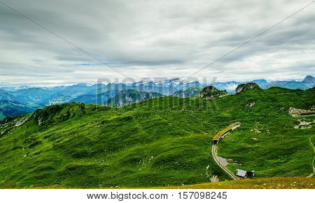 view of Alps from top of Rochers-de-Naye, near Montreux, Canton of Vaud, Switzerland