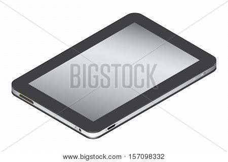 Realistic tablet in left side isometry isolated on a white background. Vector illustration.