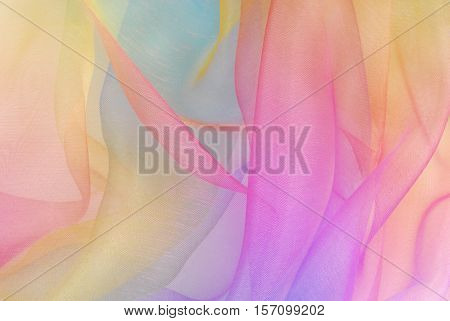 close up of the organza fabric in rainbow color