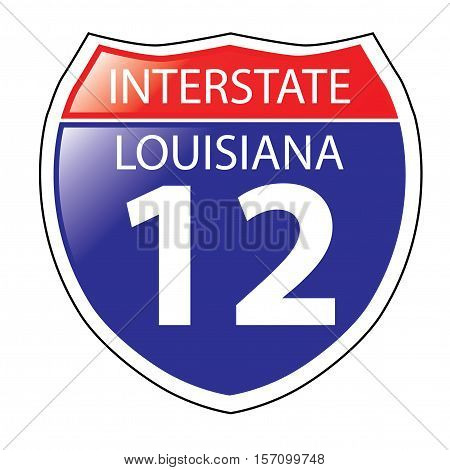 Layered artwork of Louisiana I-12 Interstate Sign