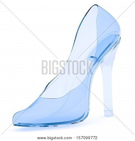 Glass slipper. Glass women's shoes with high heels on a white surface. 3D Illustration. Isolated
