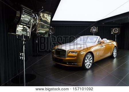Westhampnett, United Kingdom - August 11: Rolls-royce Dawn Stands In Showroom At The Goodwood Car Fa